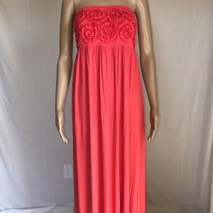 Design History Coral Floral Top Maxi Dress~Medium